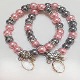 Grey and Pink Teardrop Pendant Stretch Bracelet - Self Verve Health