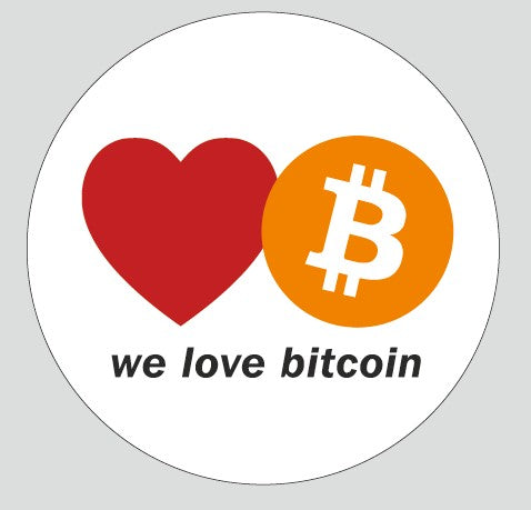 We Love Bitcoin Stickers (50 Pieces)