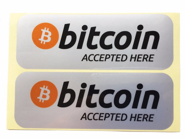 Bitcoin Accepted Here Silver Stickers (10 Pieces)