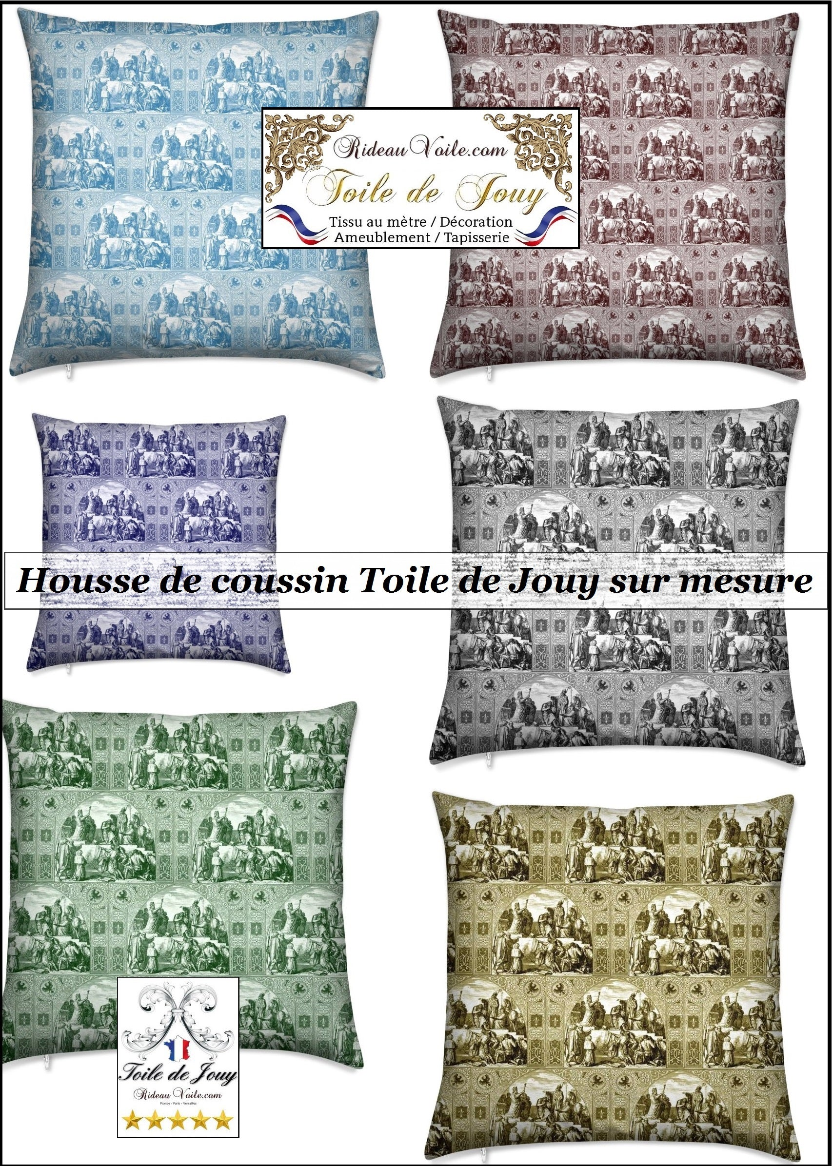 toile de jouy tissu déco housse coussin sur mesure cushion pillow duvet cover french decorating interior home