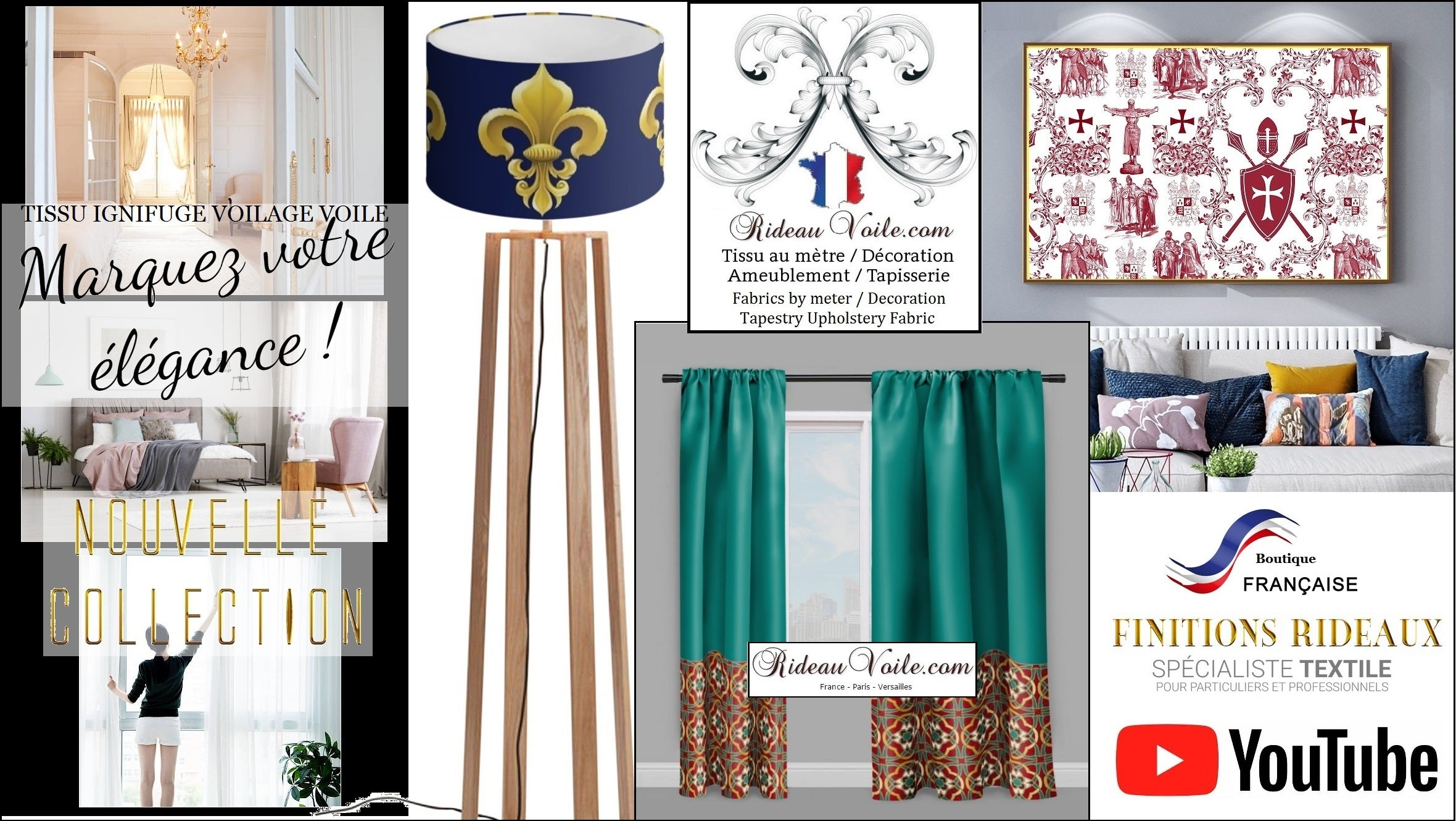 Rideauvoile store shop Paris Versailles French luxury fabrics upholstery furnishing meter decorating home room Top billing Empire