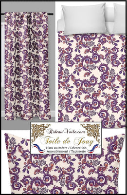 Tissu ameublement rideau motif fleur toile jouy Möbelstoff vorhänge ignifugé occultant. Blumenmuster stoff. French fabric flower pattern curtain drapes upholstery. Tela cortina. Toile de Jouy verhokangas. Tessuto per tende. Toile de Jouy Rido Stoff Riddoen. Tende e tessuti.