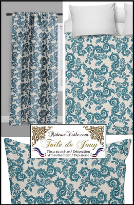 Boutique Tissu ameublement rideau motif fleur toile jouy Möbelstoff vorhänge ignifugé occultant. Blumenmuster stoff. French fabric flower pattern curtain drapes upholstery. Tela cortina. Toile de Jouy verhokangas. Tessuto per tende. Toile de Jouy Rido Stoff Riddoen. Tende e tessuti.