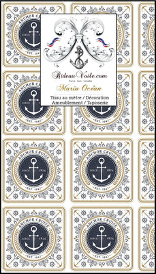 Boutique Paris Tissu Baroque ameublement style Marin mètre rideau maritime Marinière Marine Boat Nautical Upholstery Canvas meter marine upholstery fabric Nautical furnishing Yard curtain Maritime Gardin Vorhänge stoff Möbelstoff Seemanns Stoffe Meer Strandfeeling Cortina tela Marinera.