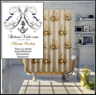 Boutique Paris Tissu ameublement Marin imprimé Bateau Or Doré mètre rideau Boat Nautical Upholstery Canvas meter marine upholstery fabric Nautical furnishing Yard curtain Maritime Gardin Vorhänge stoff Möbelstoff Seemanns Stoffe Meer Strandfeeling Cortina tela Marinera.