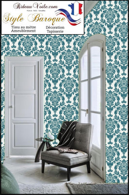 Boutique tissu imprimé fleurs motif Damassé Baroque mètre rideau ameublement tapisserie Ignifuge occultant, voilage, housse couette, sur mesure fabric meter curtain flower upholstery tapestry interior room Blackout flame retardant, duvet cover, drapes.