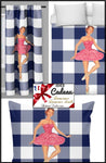 Motif danseuse ballerine Tissu carreaux vichy mètre rideau occultant voilage couette ameublement tapisserie décoration ignifugé Ballerina dancer pattern Vichy plaid fabric meter curtain blackout duvet cover upholstery tapestry fireproof