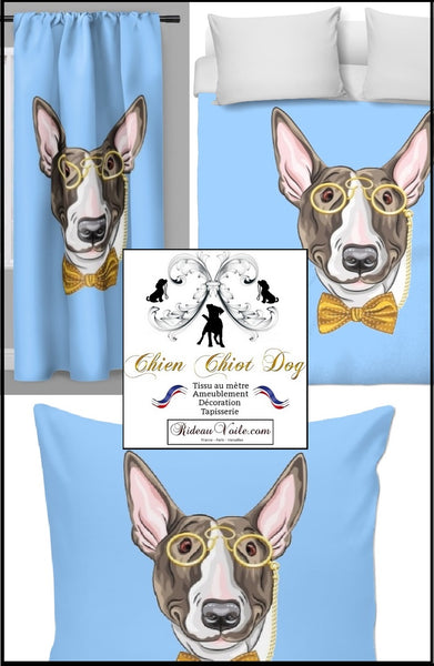 Motif chien Bull-terrier mètre rideau couette Dog pattern printed fabrics drapes decor blue bleu