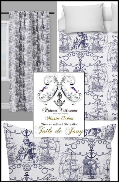 Tissu ameublement Toile de Jouy motif Marin au mètre bleu Toile de Jouy Tissu ameublement Marin mètre rideau voilage ignifugé occultant Boat Nautical Upholstery Canvas meter marine upholstery french fabric Nautical furnishing fransk Nautisk sømløs mønster med tessuto francese tappezzeria stile marino stof marine patroon boot.