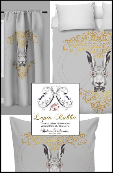 tissu motif lapin imprimé ameublement décoration tapisserie rideau housse de couette voilage printed rabbit pattern fabric upholstery decoration tapestry curtain duvet cover drapes
