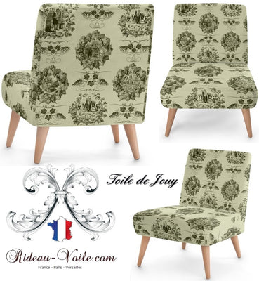 Toile de Jouy vert olive tissu au mètre rideau coussin couette siège tapisserie - Tissu ameublement Baroque motif Toile de jouy décoration tapisserie mètre rideau voilage. French fabrics decorating home yard meter curtain upholstery tapestry. Stoff Mete Vorhangstoff rido Empire. Gardib stof ved måleren. Tela de cortina metro. Verhokangas kangas mittarilla.