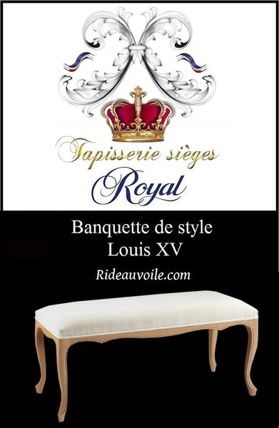 Boutique Rideauvoile.com spécialiste du tissu ameublement et tapisserie pour siège, Banquette de style Louis XV prétapissée à personnaliser. Meuble mobilier haut gamme French Louis XIV Style Canape Sofa Settee custom. Vintage Used French Country Seating.