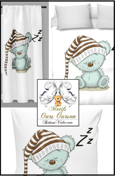 Tissu décoration ameublement chambre enfant bébé motif ours ourson animal mètre rideau couette idée cadeau naissance - Fabric decoration home furnishings bedroom child baby pattern bear cub cubicle meter curtain duvet idea gift birth