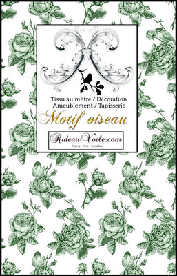 tissus ameublement motif toile de jouy mètre imprimé fleurs oiseaux ignifugé, occultant, voilage soie lin velours tapisserie siège shop curtain duvet cover fabric furnishing french Toile de Jouy meter flower bird pattern gardin quilt møblering stof meter blomstermotiv ildfast, blackout, ren silke linned fløjl
