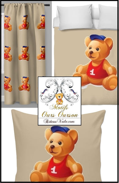 Boutique ParisTissu décoration ameublement chambre enfant bébé motif ours ourson animal mètre rideau couette idée cadeau Paris Luxe naissance - Fabric decoration home furnishings bedroom child baby pattern bear cub cubicle meter curtain duvet idea gift birth shop store Paris luxury