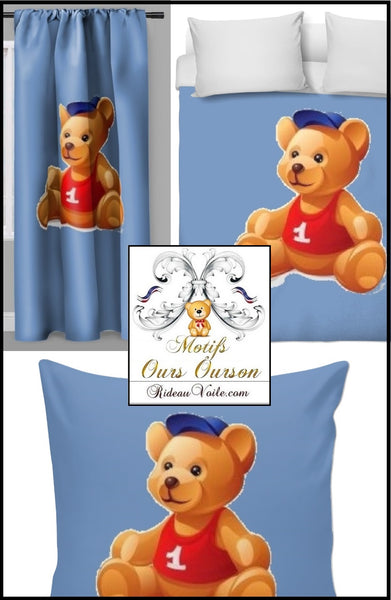 décoration ameublement chambre enfant bébé motif ours ourson animal mètre rideau couette idée cadeau Paris Luxe naissance - Fabric decoration home furnishings bedroom child baby pattern bear cub cubicle meter curtain duvet idea gift birth shop store Paris luxury