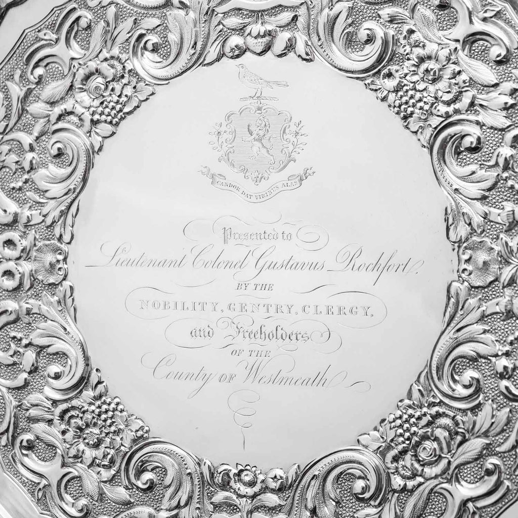 A Magnificent Georgian Sterling Silver Tray/Salver with Military Lieutenant Interest - James Fray 1833