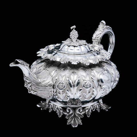 A Spectacular Antique Solid Silver Tea Set/Service with Highly Decorative Embossed/Chased Design - R W Smith 1837