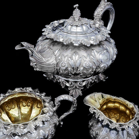 A Spectacular Antique Solid Silver Tea Set/Service - R W Smith 1837