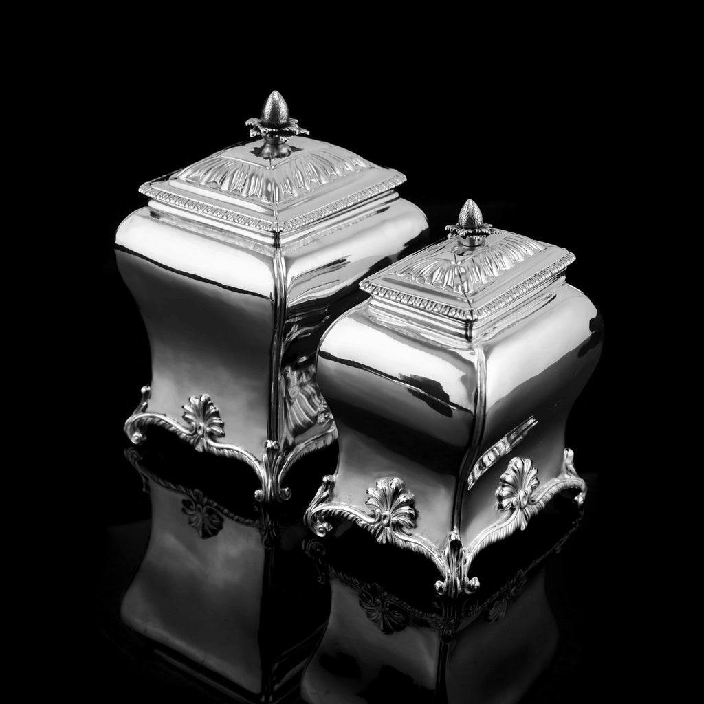 Antique Solid Silver Tea Caddy/Canister Set with Shagreen Box Case & Accessories - Peter (Pierre) Gillois 1759