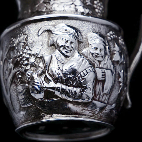 Antique Victorian Solid Silver Milk Jug/Pitcher with Figural Tavern Scene - Thomas Smily 1876