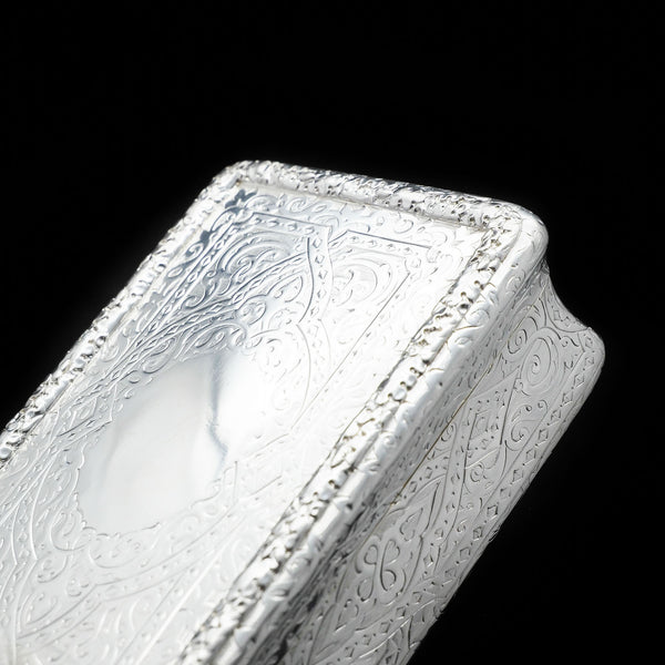 A huge solid silver Victorian table snuff box