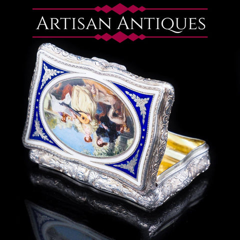 Antique Silver Enamel Snuff Box