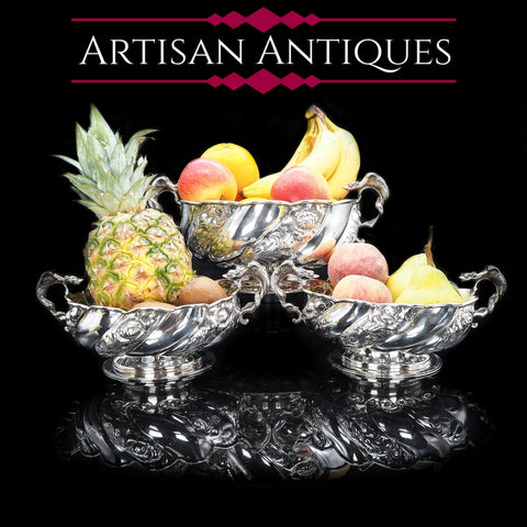 Antique Solid Silver Fruit Bowls with Griffin Handles