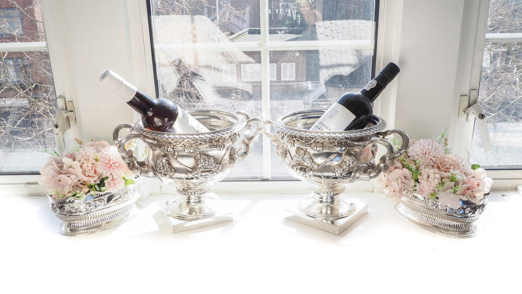 A Pair of Solid Silver Warwick Vases