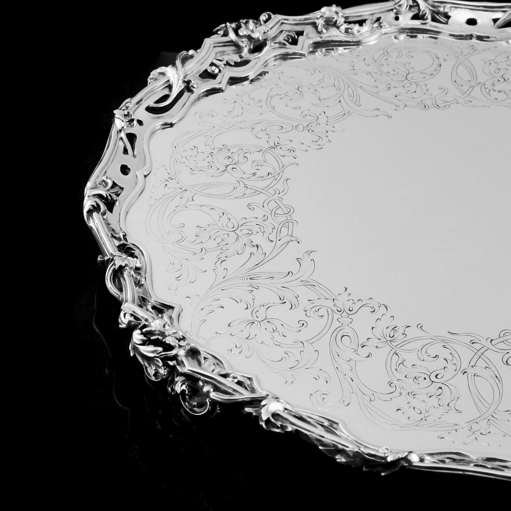A Large Solid Sterling Silver Victorian Salver/Tray/Platter 47cm (2.9kg) with Cast Border and Fine Engravings - Hunt & Roskell (Late Storr Mortimer & Hunt)