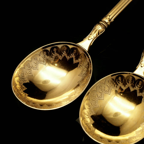 A Victorian Pair of Solid Silver Gilt Spoons - Francis Higgins 1883