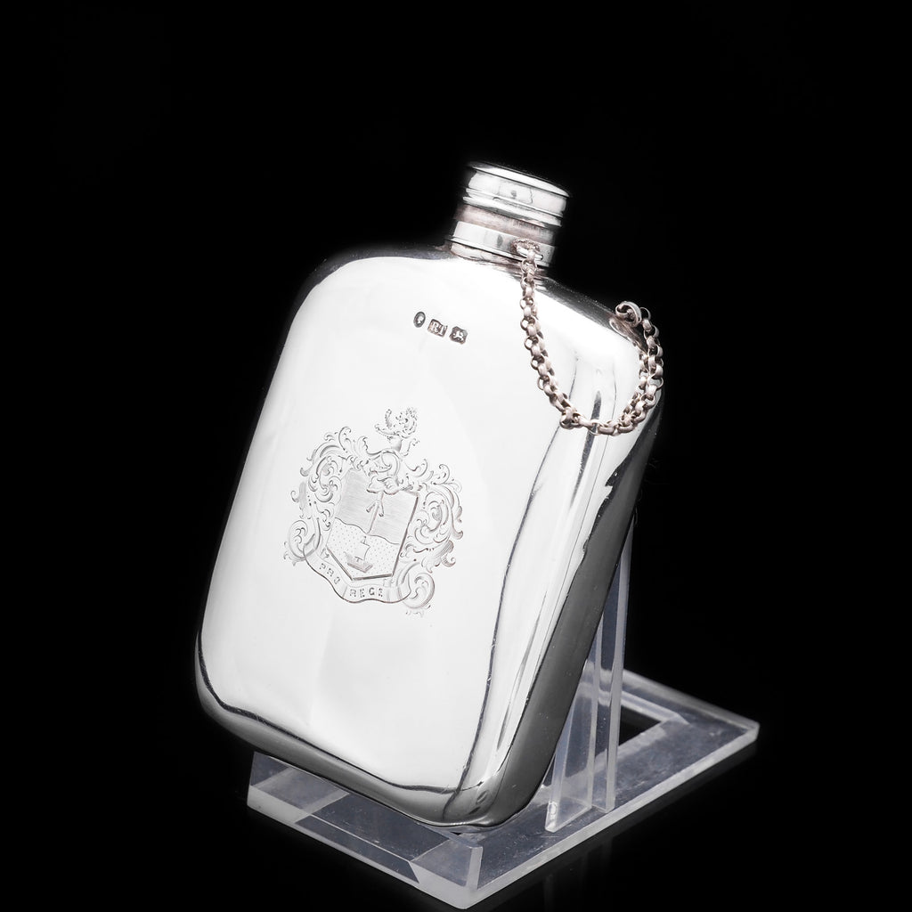 Antique Solid Silver Hip Flask