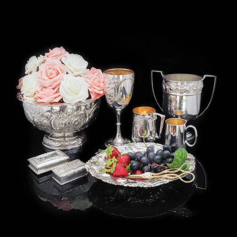 Magnificent Antique silverware on black background