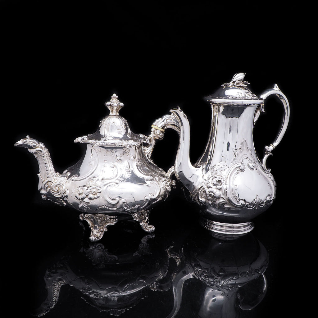 Antique Silver Coffee and Tea Pot