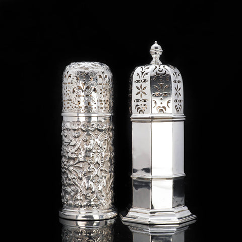 Victorian silver pair of sugar caster shakers