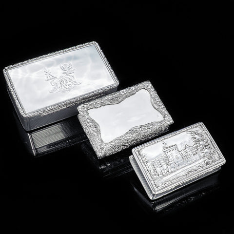 Three Antique Solid Silver Snuff Boxes