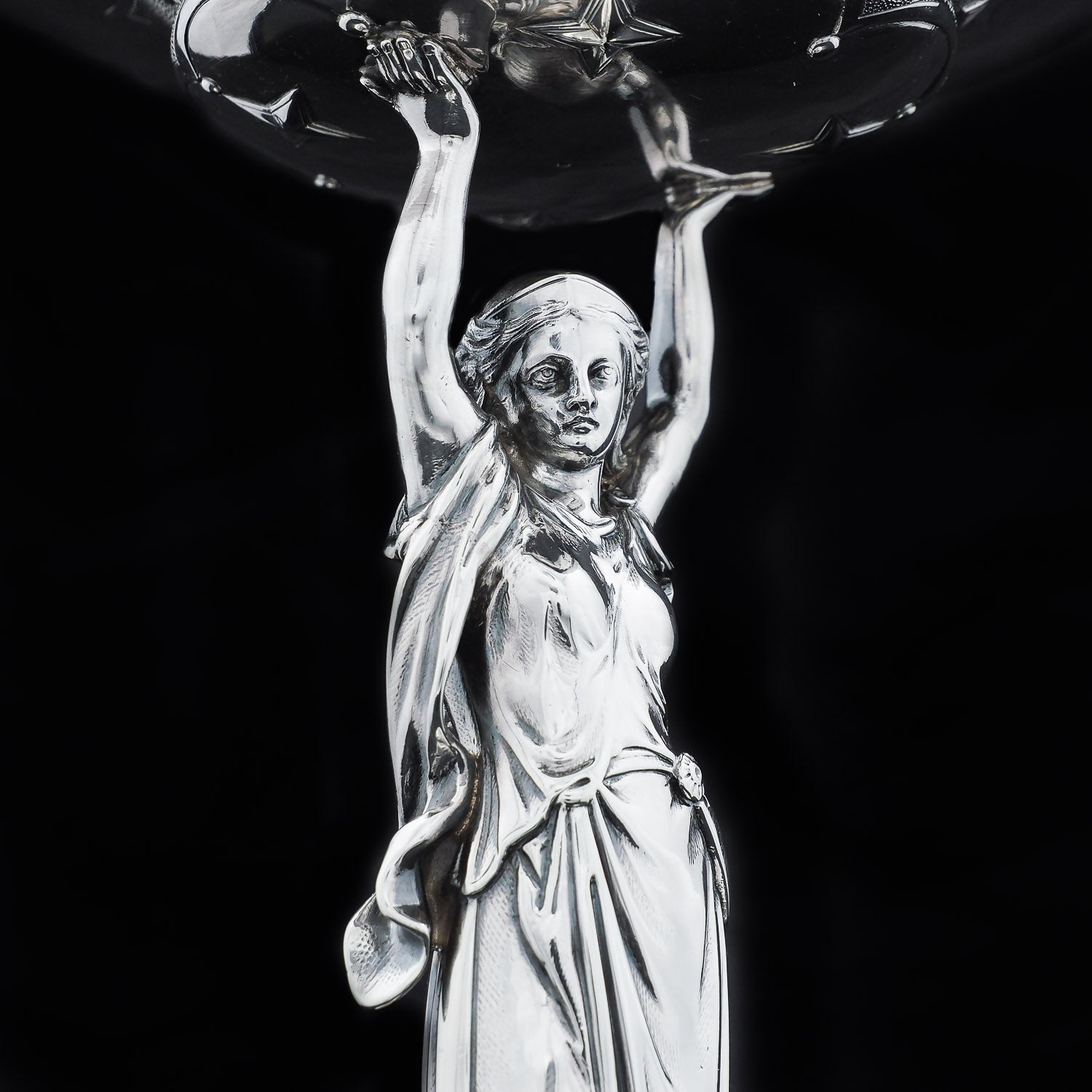 A Spectacular Solid Silver Figural Centrepiece Tazza of a Sculpted Lady - Daniel & Charles Houle 1870