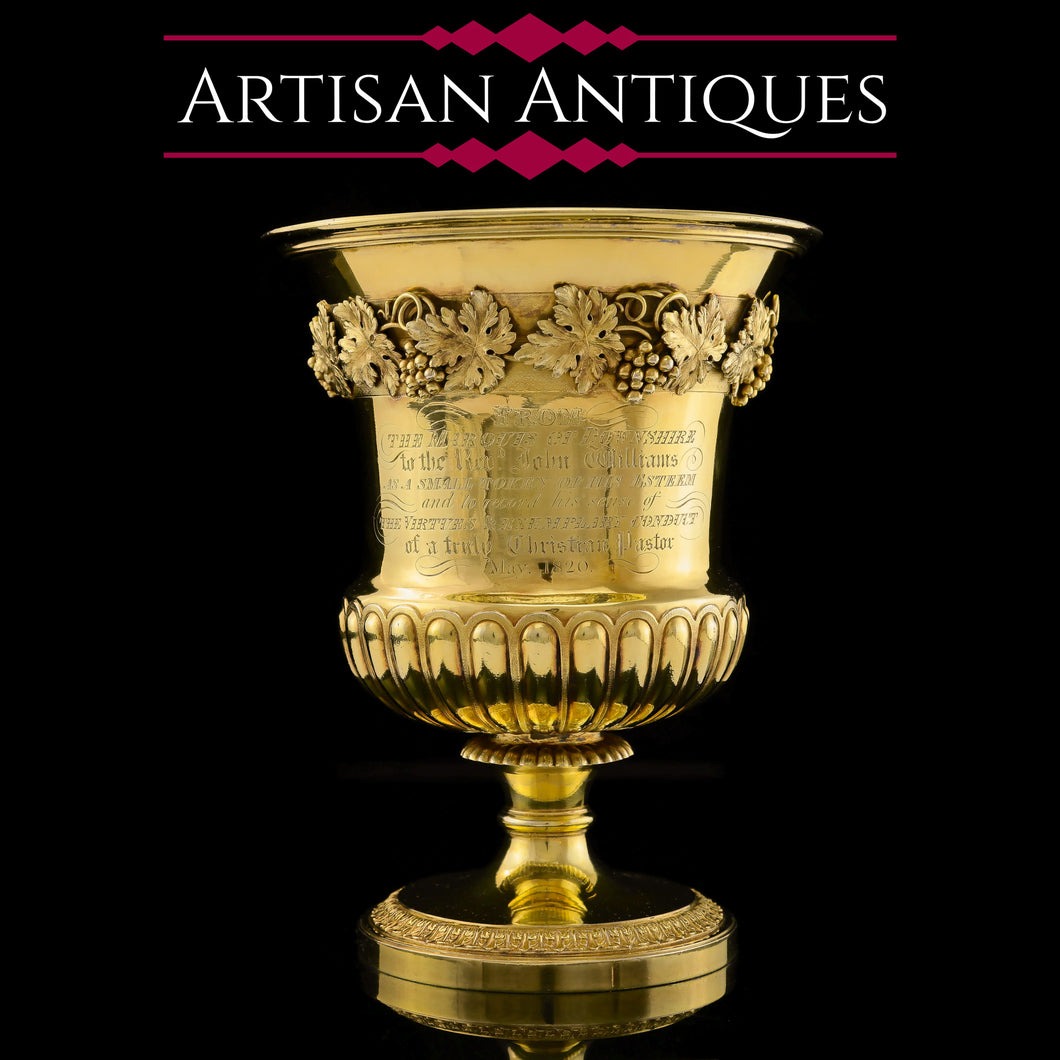 A Magnificent English Georgian Silver Gilt Cup/Goblet/Trophy (Over 1 kg)- William Eaton 1819