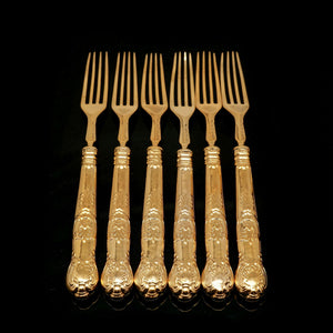 Antique Victorian Solid Silver Gilt Fruit/Dessert Knives & Forks Set of Six in Queens Pattern - Aaron Hadfield 1839 - Artisan Antiques