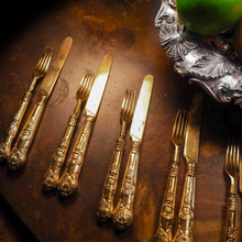 Load image into Gallery viewer, Antique Victorian Solid Silver Gilt Fruit/Dessert Knives & Forks Set of Six in Queens Pattern - Aaron Hadfield 1839 - Artisan Antiques