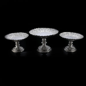 Magnificent Large Antique Victorian Set of Three Comport/Tazza Suites with Fine Chased Engravings - Martin Hall & Co 1890 - Artisan Antiques