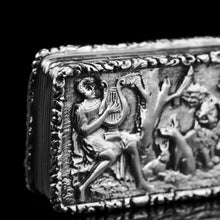 "Load image into Gallery viewer, Rare Antique Georgian Solid Silver Vinaigrette Figural Scene with Animals & Harp ""Orpheus Enchanting Animals""- Joseph Taylor 1827 - Artisan Antiques"