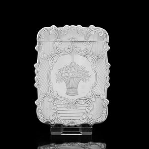 Antique Victorian Solid Silver Card Case with Floral Engravings - Taylor & Perry 1898 - Artisan Antiques