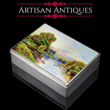 Load image into Gallery viewer, A Large Solid Silver Enamel Landscape Scene Box - London, AJ,1928