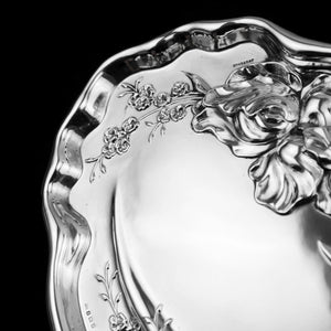 Antique Solid Sterling Silver Large Dish/Tray with Art Nouveau Floral Design - Thomas Bishton 1907 - Artisan Antiques