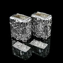 Load image into Gallery viewer, Antique Georgian Solid Sterling Silver Tea Caddy/Canister Pair with Chinoiserie Design - Tomas Heming 1752 - Artisan Antiques