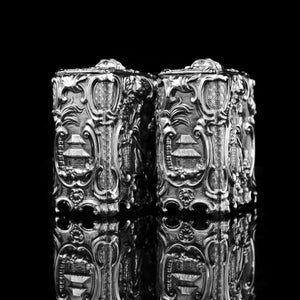 Antique Georgian Solid Sterling Silver Tea Caddy/Canister Pair with Chinoiserie Design - Tomas Heming 1752 - Artisan Antiques
