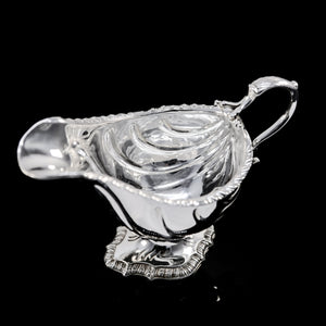 Antique Georgian Solid Sterling Silver Sauce Boat Nautilus Design Armorial Interest - William Shaw 1766 - Artisan Antiques