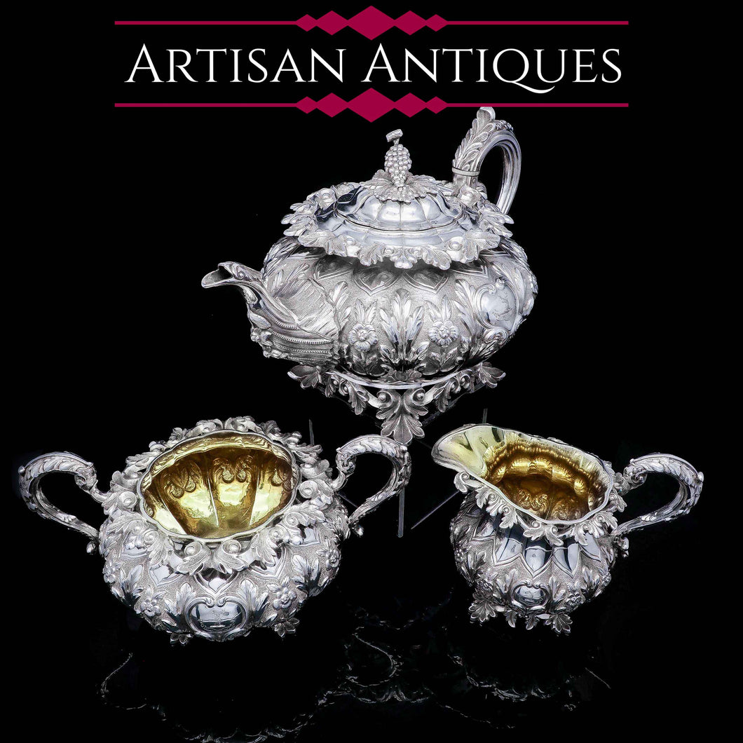 RESERVED - A Spectacular Antique Solid Silver Tea Set/Service with Highly Decorative Embossed/Chased Design - R W Smith 1837 - Artisan Antiques