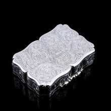Load image into Gallery viewer, A Large Antique Victorian Solid Sterling Silver Table Snuff Box with Intricate Engravings - Edward Smith 1853